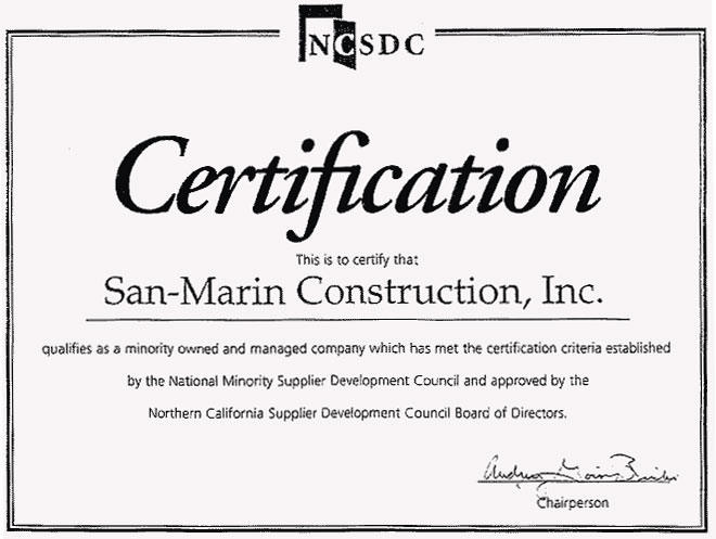 SanMarin Construction Inc History – Certificate of Completion Construction